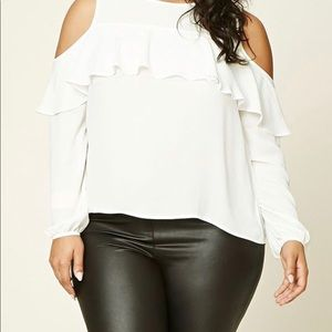 Tops - Cold Shoulder Top w/Ruffle Detail